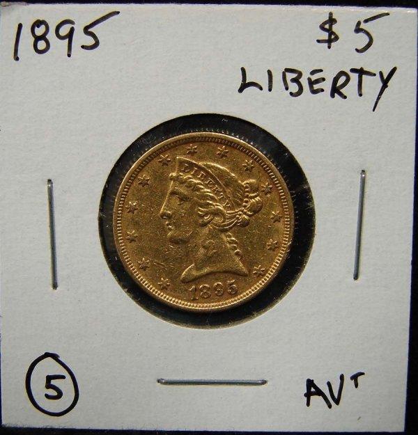 5: 1895 $5 LIBERTY GOLD COIN