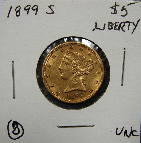8: 1899-S $5 LIBERTY GOLD COIN