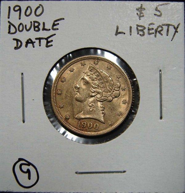 9: 1900 $5 LIBERTY GOLD COIN