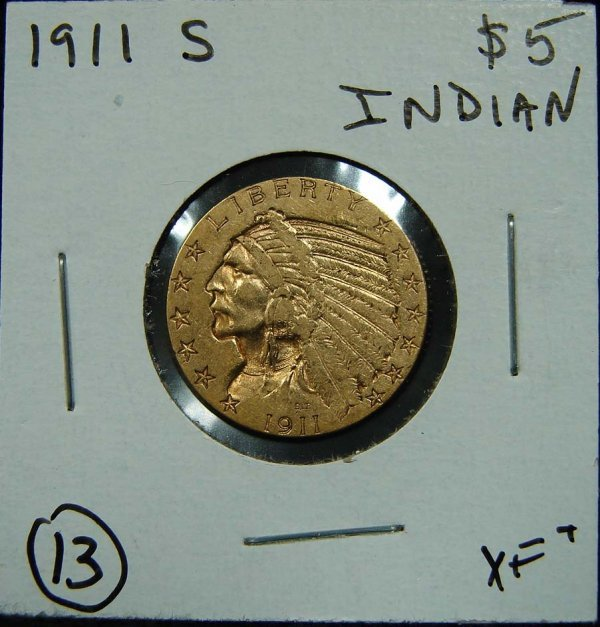 13: 1911-S $5 INDIAN GOLD COIN