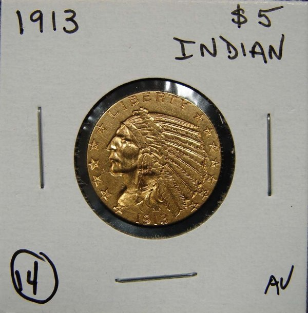 14: 1913 $5 INDIAN GOLD COIN