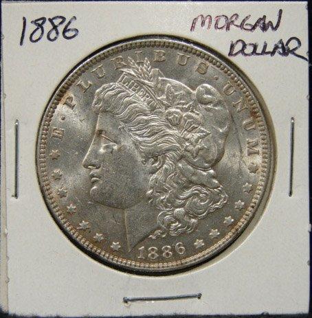 3: 1886 U.S. MORGAN SILVER DOLLAR
