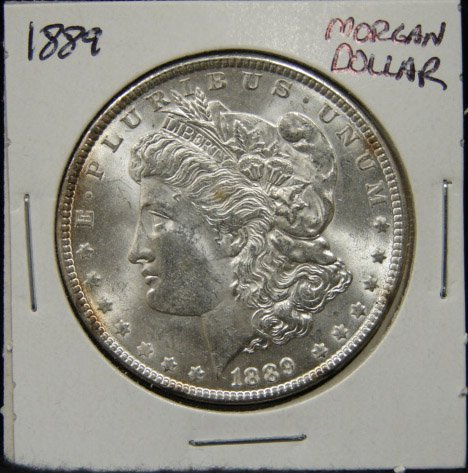 4: 1889 U.S. MORGAN SILVER DOLLAR.