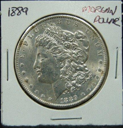5: 1889 U.S. MORGAN SILVER DOLLAR.