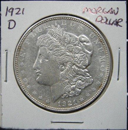 12: 1921-D U.S. MORGAN SILVER DOLLAR