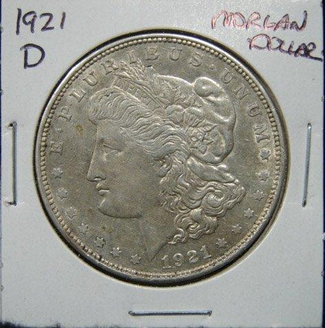 13: 1921-D U.S. MORGAN SILVER DOLLAR