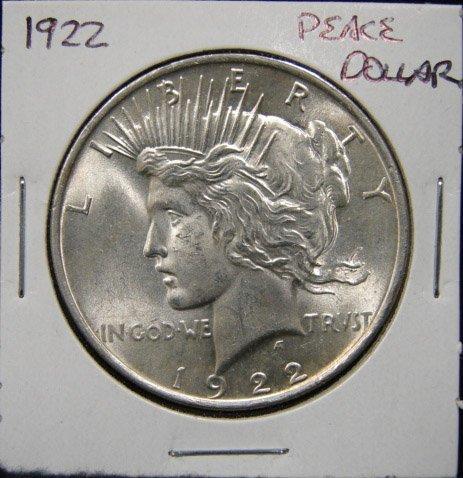 14: 1922 U.S. PEACE SILVER DOLLAR