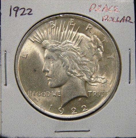 15: 1922 U.S. PEACE SILVER DOLLAR