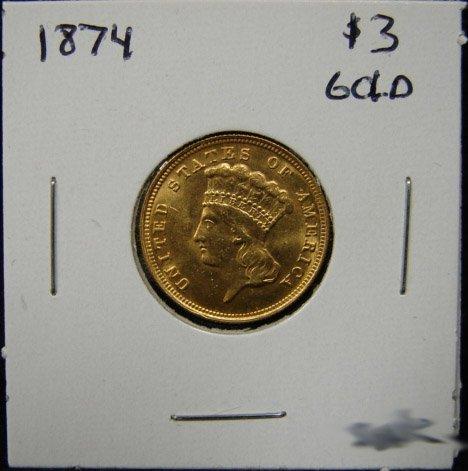 86: 1874 $3 U.S. GOLD COIN