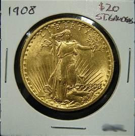 90: 1908 $20 ST. GAUDENS GOLD COIN