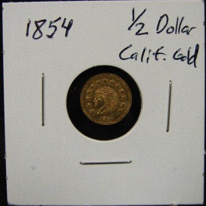 211: 1854 1/2 DOLLAR CALIFORNIA GOLD COIN
