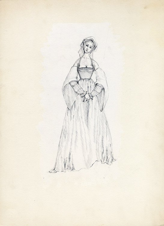 558: Costume sketch of Rosemary Forsyth in The War Lord