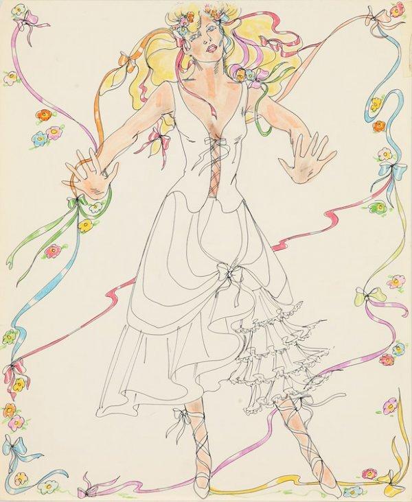 568: Bobbie Mannix costume sketch - Olivia Newton-John