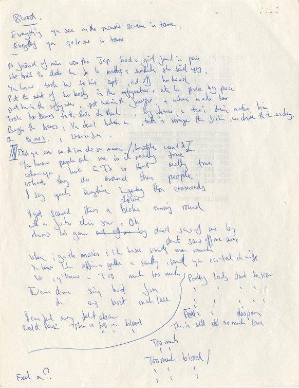 943: Mick Jagger Rolling Stones lyrics - Too Much Blood