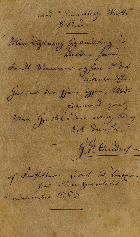 1: Unpub. handwritten poem - Hans Christian Andersen