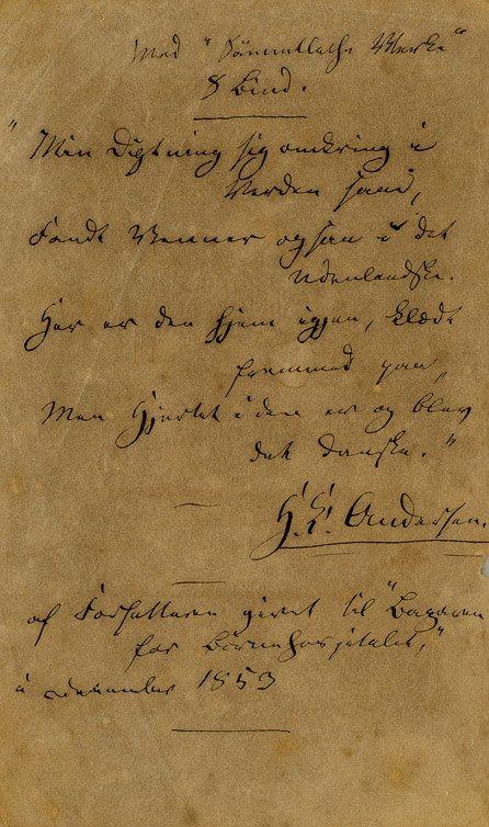 1: Unpub. handwritten poem - Hans Christian Andersen