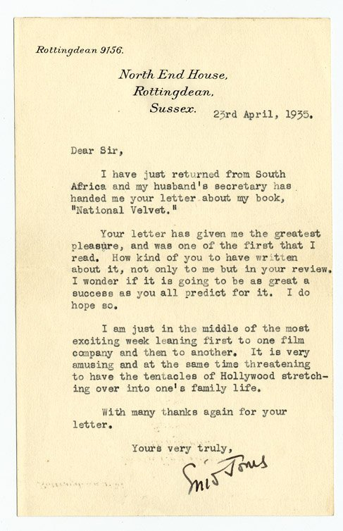 2: National Velvet, First Edition with signed letter - 2