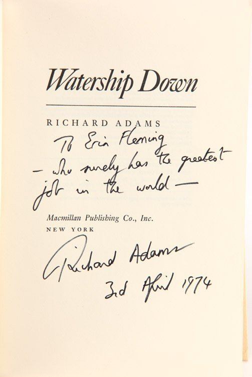 5: Watership Down, First Edition inscribed by author - 2