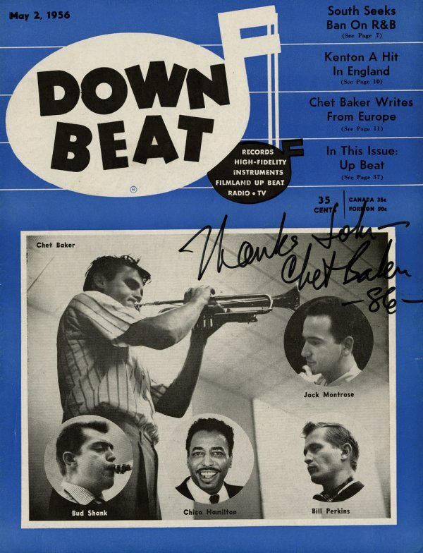 Three issues of Down Beat magazines signed