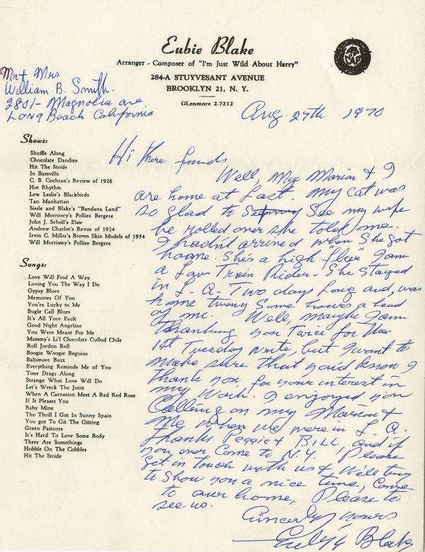 Eubie Blake 3 music scores, signed photo & letter