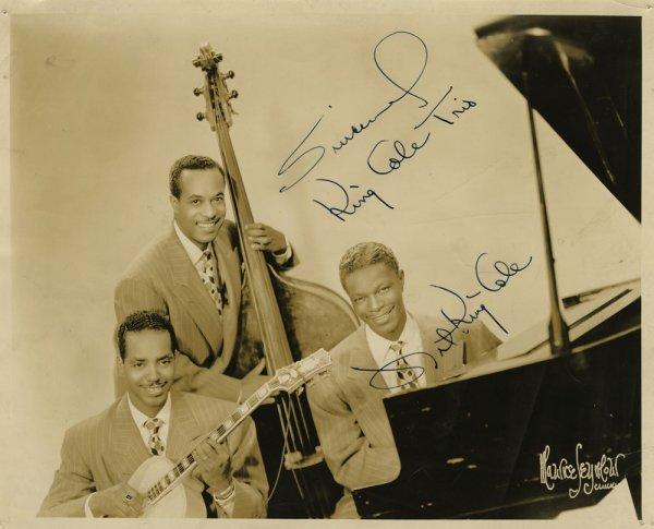 Nat King Cole and Glenn Miller signed portraits