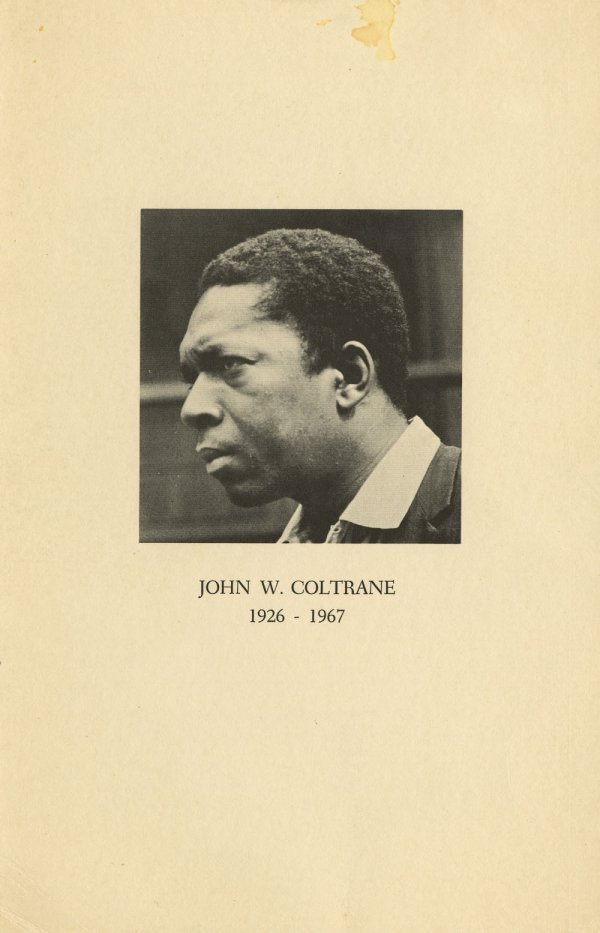 John Coltrane funeral program and signed portraits