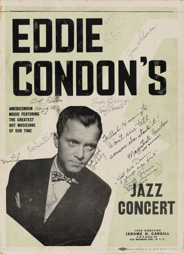Eddie Condon vintage signed portrait and poster