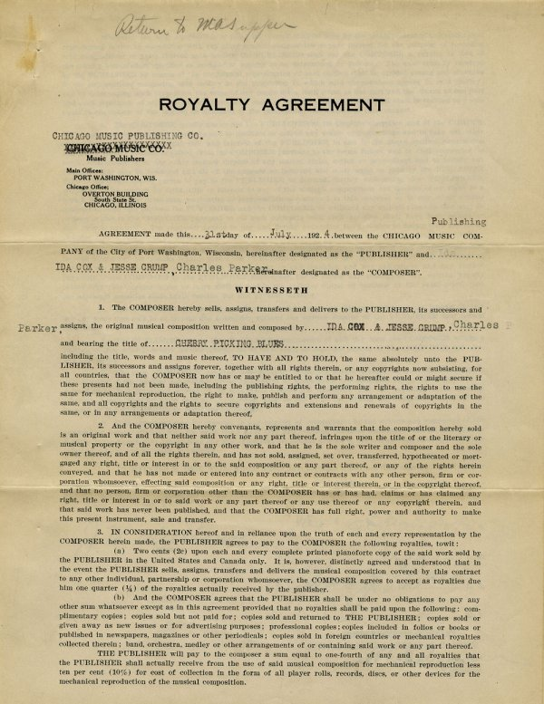 Royalty agreement for Cherry Picking Blues