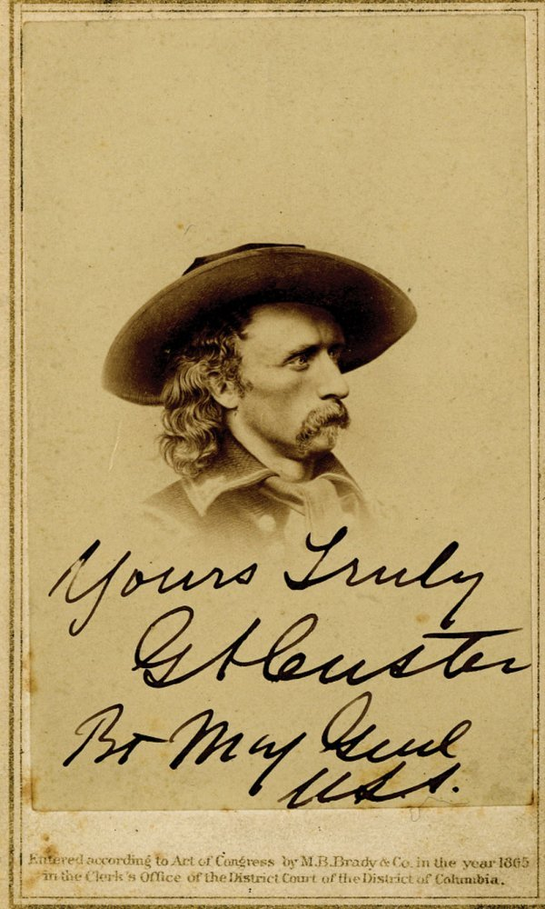 George A. Custer Mathew Brady Carte de Visite Signed