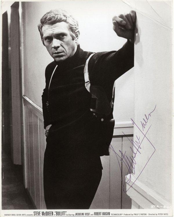 Steve McQueen portrait from Bullitt signed