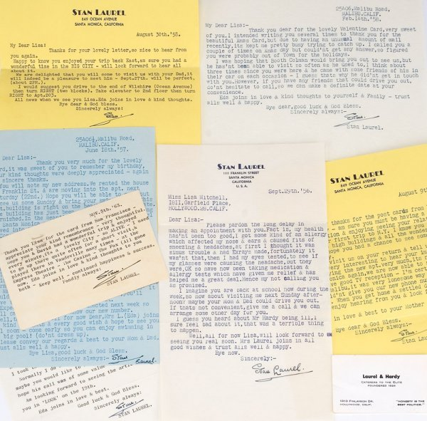 Archive of Stan Laurel letters to actress Lisa Mitchell