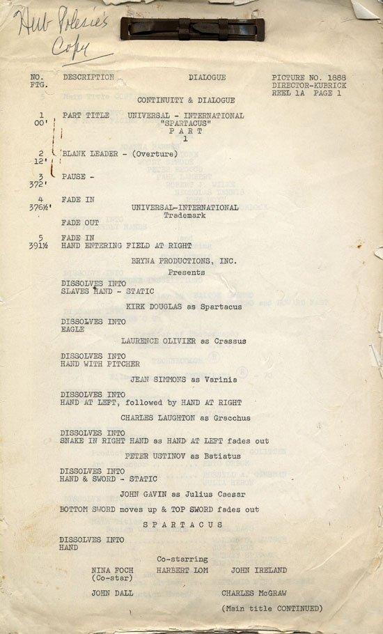 Spartacus dialogue continuity script by Dalton Trumbo