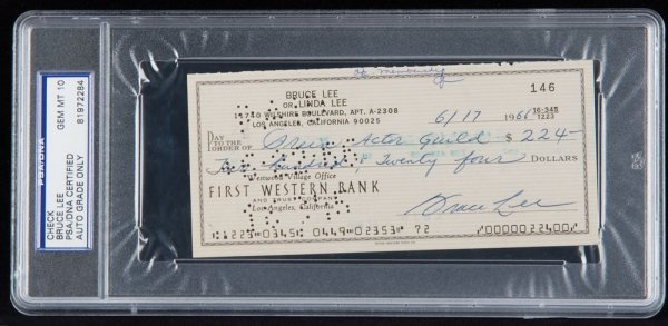 Bruce Lee signed 1966 check to S.A.G.