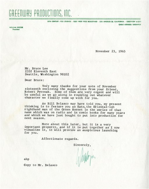 William Dozier letters to Bruce Lee re: Green Hornet - Jun