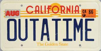 OUTATIME DeLorean license plate from Back to the Future