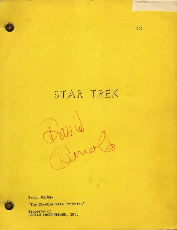 Star Trek signed Trouble with Tribbles 1st Draft script