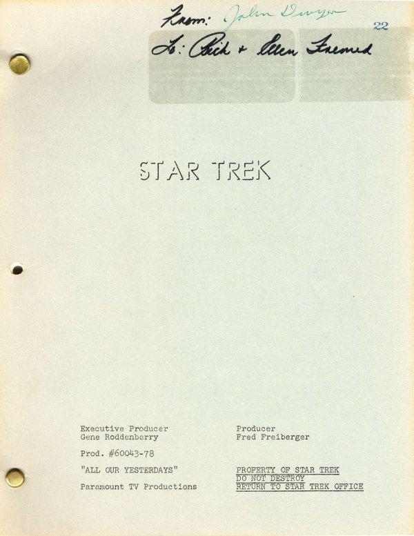 Star Trek TOS Final Draft script for All Our Yesterdays