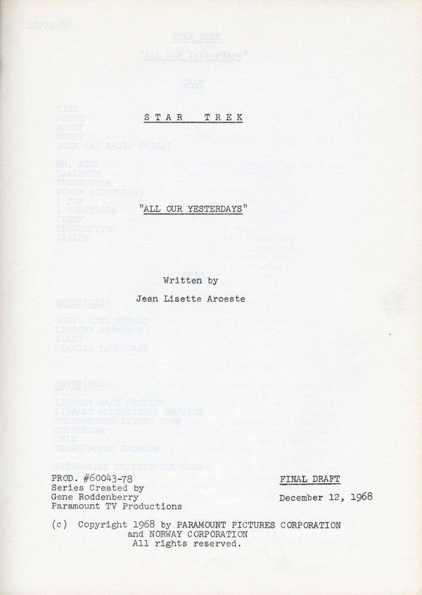 Star Trek TOS Final Draft script for All Our Yesterdays - 2