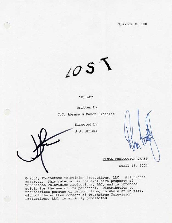 """Pilot"" script signed by JJ Abrams & Damon Lindelof"