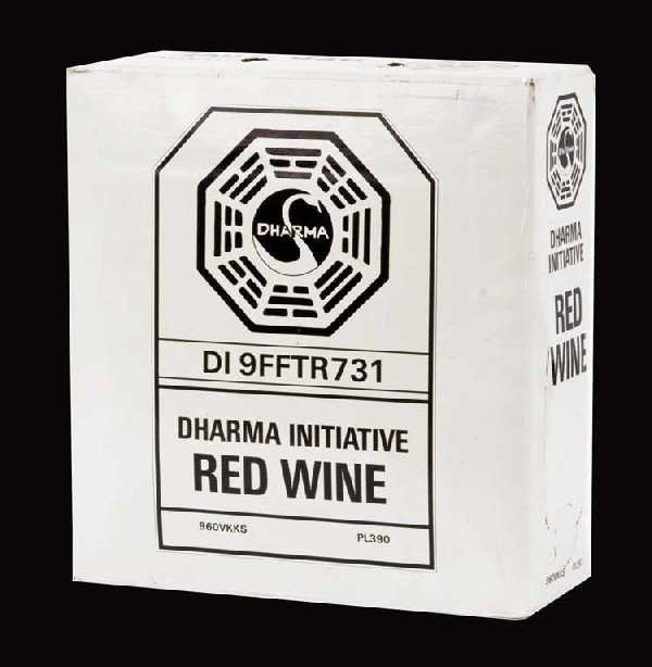 DHARMA-branded red wine enjoyed by Sawyer & Hurley