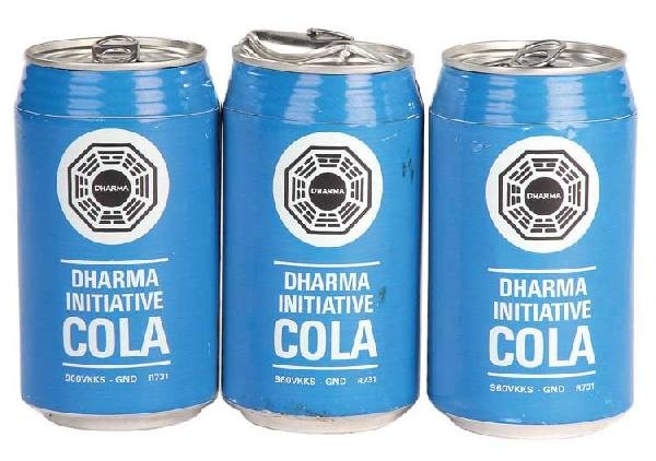 DHARMA-branded cola cans