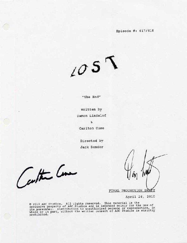 Finale script signed by Damon Lindelof & Carlton Cuse
