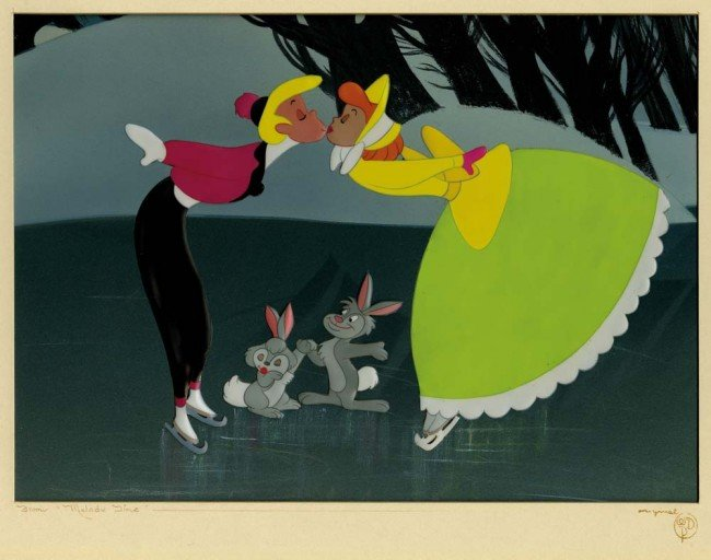 "15: Melody Time, ""Once Upon a Winterime"" cel & prod bkg"