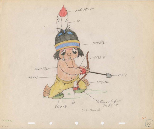 18: Little Hiawatha original color model drawing