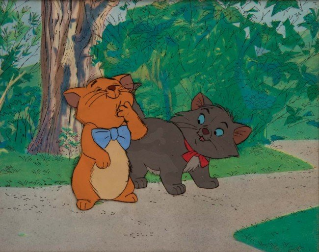 135: Orig cel of Toulouse & Berlioz frm The Aristocats