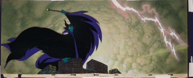 370: Maleficent production cel with key matching bkgrnd