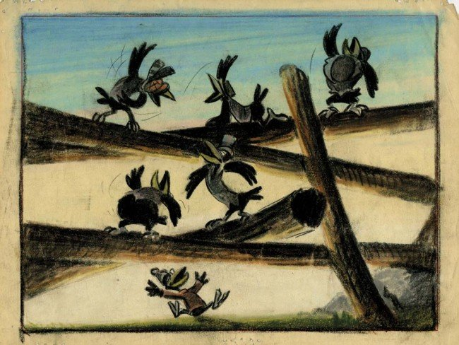 492: Orig prod color model drawing of Crows from Dumbo