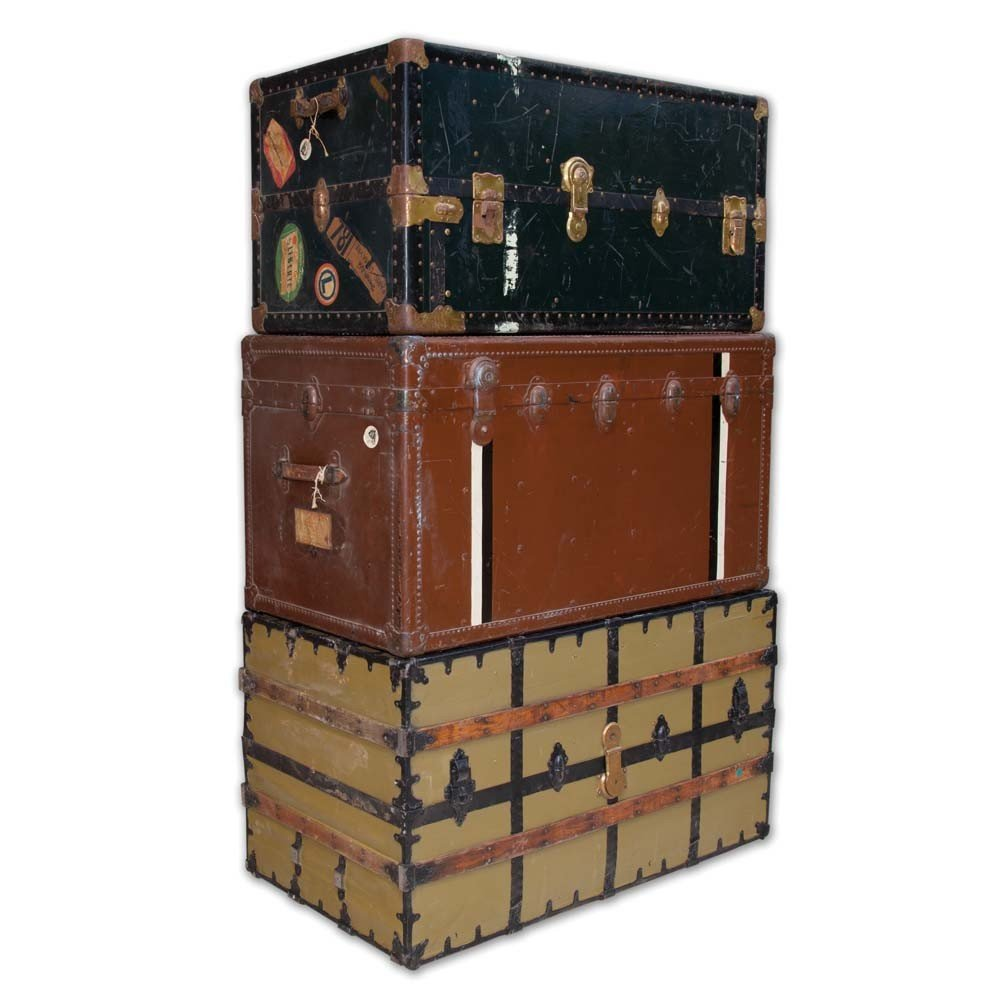 Three steamer trunks owned and used by Mary Pickford