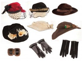 Collection of Mary Pickford personal hats and gloves