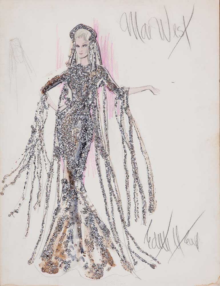 Costume sketch of Mae West for Myra Breckinridge